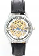 WINNER Unisex Water Resistant Silver Dial Leather Band Skeleton Automatic Mechanical Watches