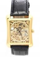 WINNER Unisex Luxury Gold Dial Water Resistant Rectangle Skeleton Hand Wind Watches