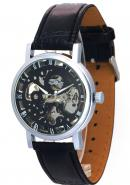 WINNER Unisex Classic Carved Design Stationary Bezel Skeleton Automatic Mechanical Leather Watches
