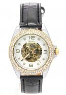 WINNER Womens Silver Dial Diamant Leather Skeleton Automatic Mechanical Watches